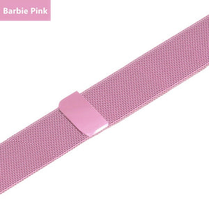 Stainless Steel Bracelet Band with Milanese Loop. Compatible with Apple Watch. Woven metal is soft, lightweight and looks very premium. Barbie pink color