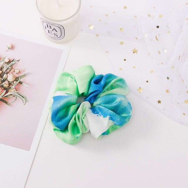 Greenish blue scrunchie