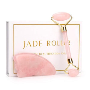 Rose Quartz face roller and gua sha scrapper with white box