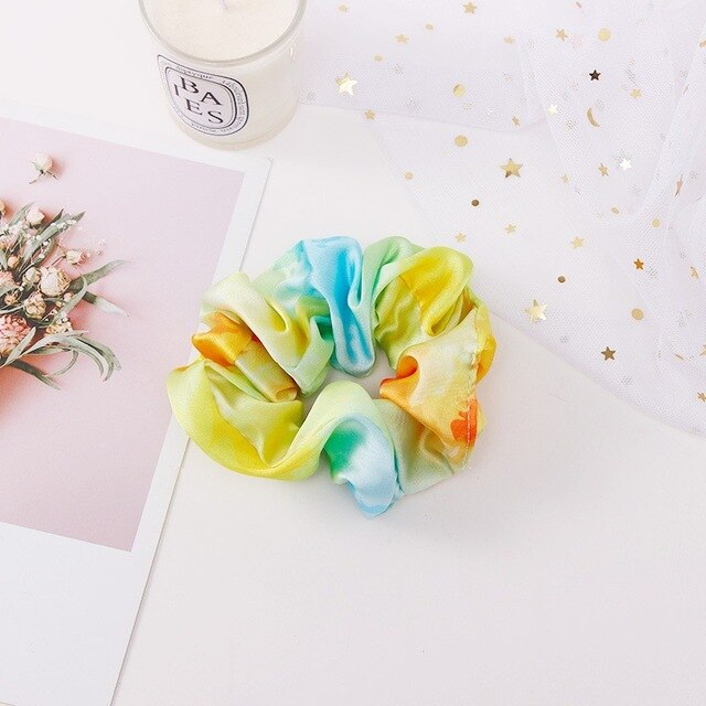 Yellow light blue scrunchie