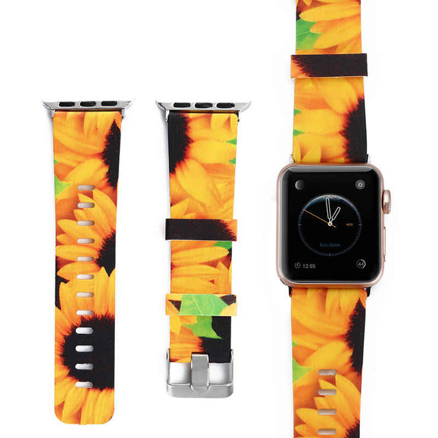 Spring Forever Silicone Watch Band (Compatible with Apple Watch). Silicone band featuring floral prints. Won't fade, resistant to dirt, easy to clean.