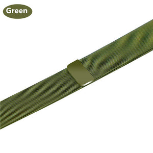 Stainless Steel Bracelet Band with Milanese Loop. Compatible with Apple Watch. Woven metal is soft, lightweight and looks very premium. Green color.