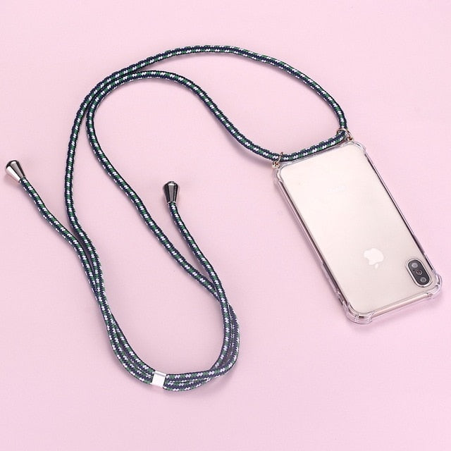 iPhone clear case with green 3 toned cord