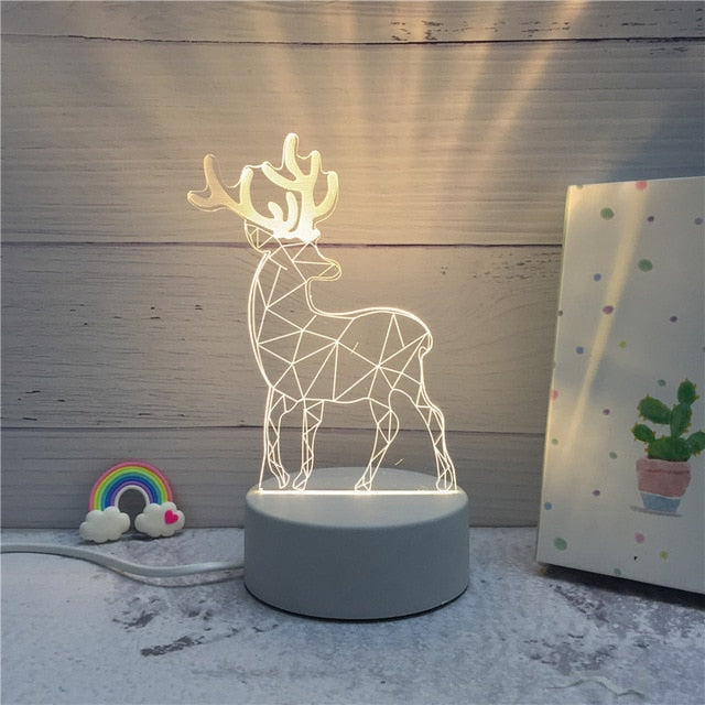3D LED ambient night light - deer