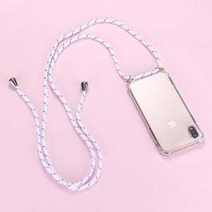 iPhone clear case with white with black striped cord