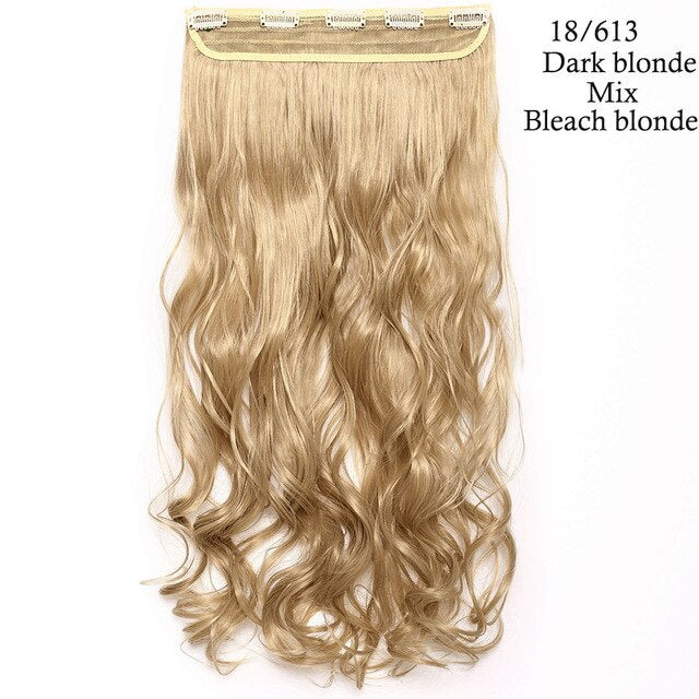 24inch one piece clip in hair extension in dark blonde mix bleach blonde