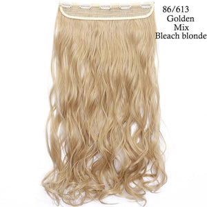 24inch one piece clip in hair extension in golden mix bleach blonde