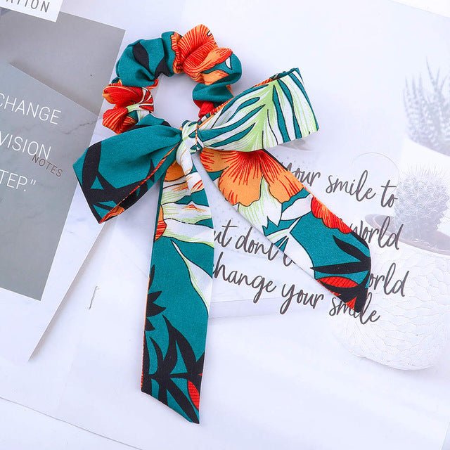 Satin scrunchie with detachable ribbon, teal orange color