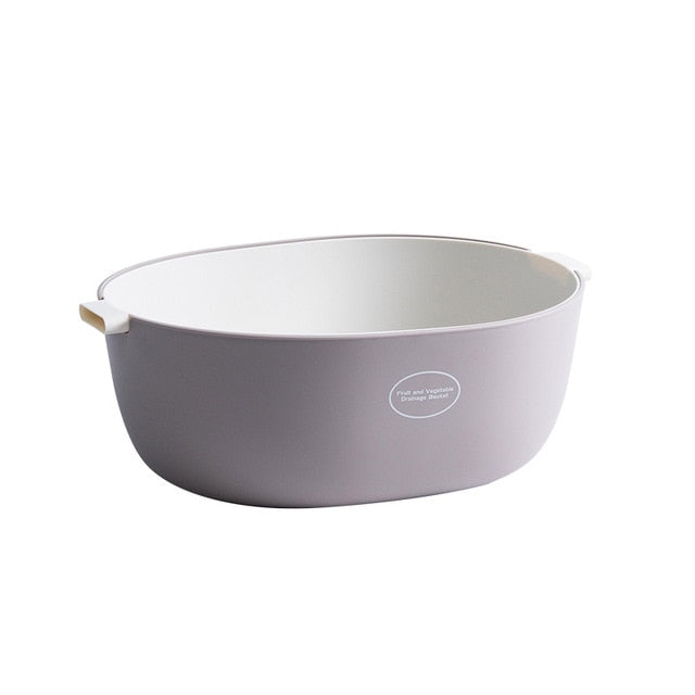 Large double layer colander - color gray/white