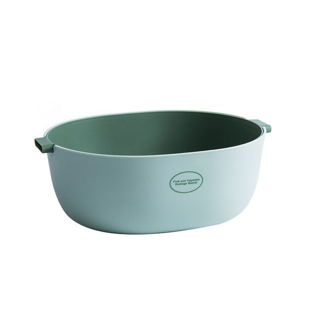 Large double layer colander - color mint green/deep green