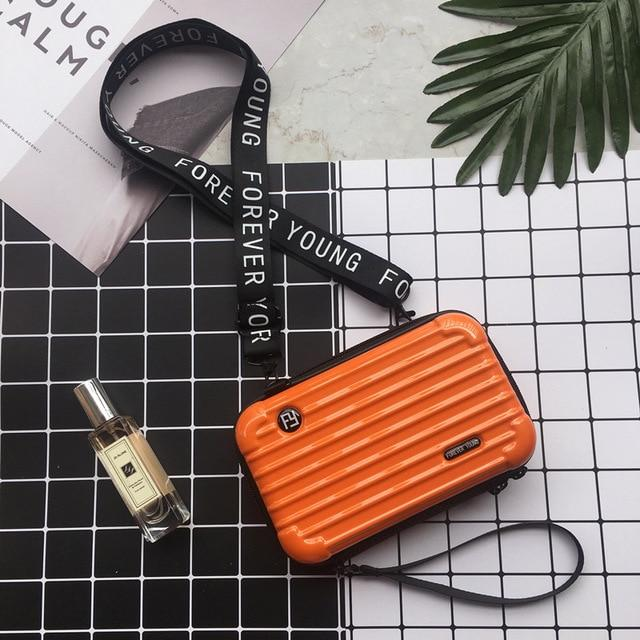 Mini Suitcase Shaped Crossbody Handbag & Clutch-Sunburst Orange