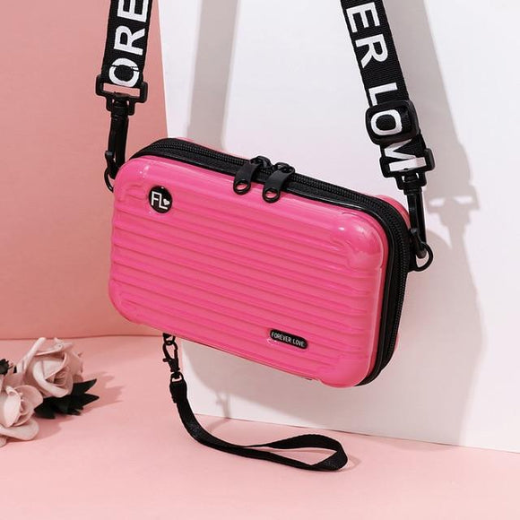 Pink Mini Suitcase Shaped Crossbody Handbag & Clutch