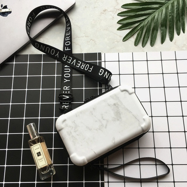 Mini Suitcase Shaped Crossbody Handbag and Clutch in white marble pattern