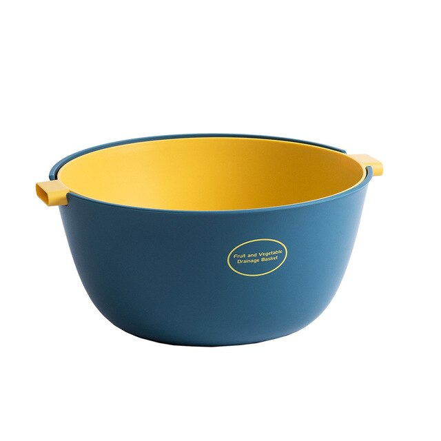 Small double layer colander - color blue/yellow