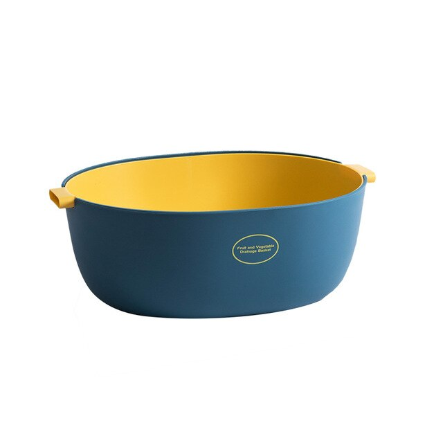 Large double layer colander - color blue/yellow
