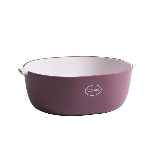 Large double layer colander - color pastel magenta/white