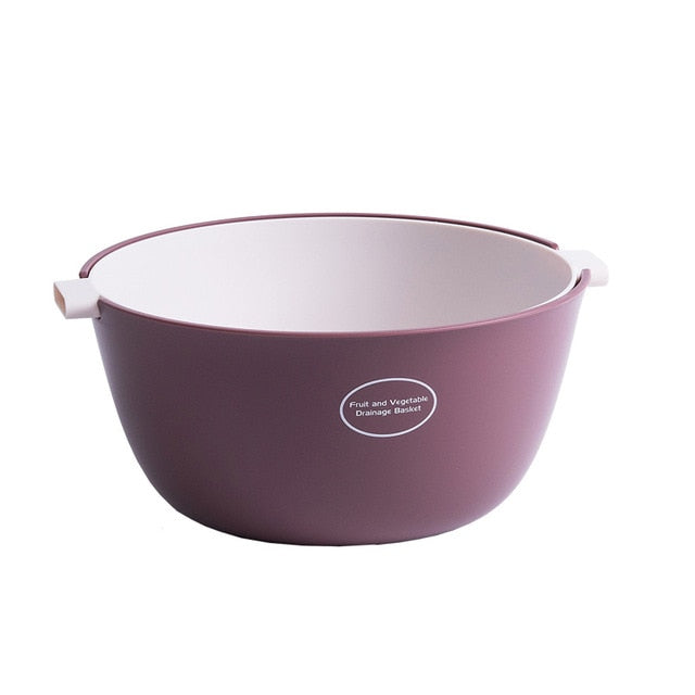 Small double layer colander - color pastel magenta/white