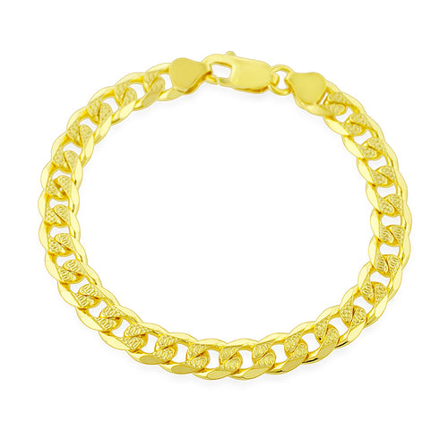 Gold Plated Sterling Silver 8mm Curb Link Bracelet