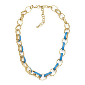 Blue Enamel Oval Link Brass Necklace