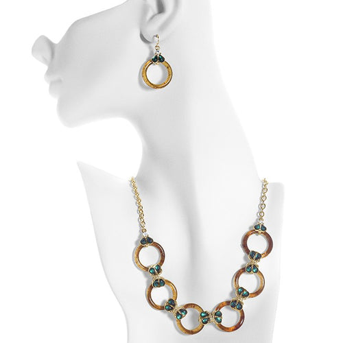 Green & White Circle Station Brass Necklace & Earring Set