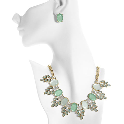 Green & White Station Brass Necklace & Earring Set