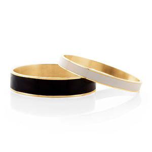 Black & White Enamel Brass Bangle Set