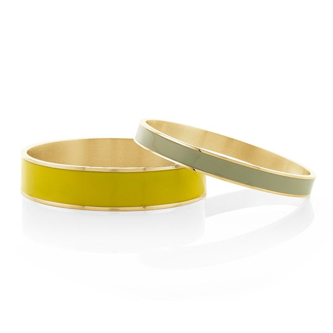 Yellow & Mint Enamel Brass Bangle Set