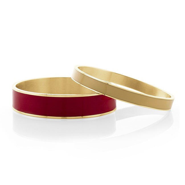Red & Orange Enamel Brass Bangle Set