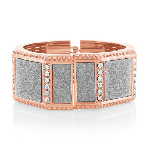 Octagonal Pink Gold plated Bangle with CZ