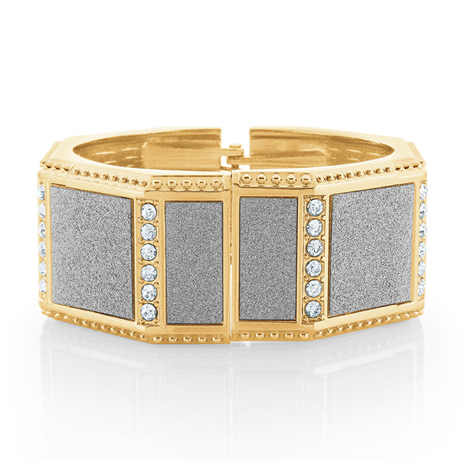 Octagonal Yellow Gold plated Bangle with CZ