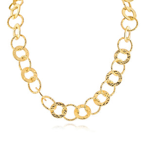Gold-Plated Bronze Hammered Circle Link Necklace