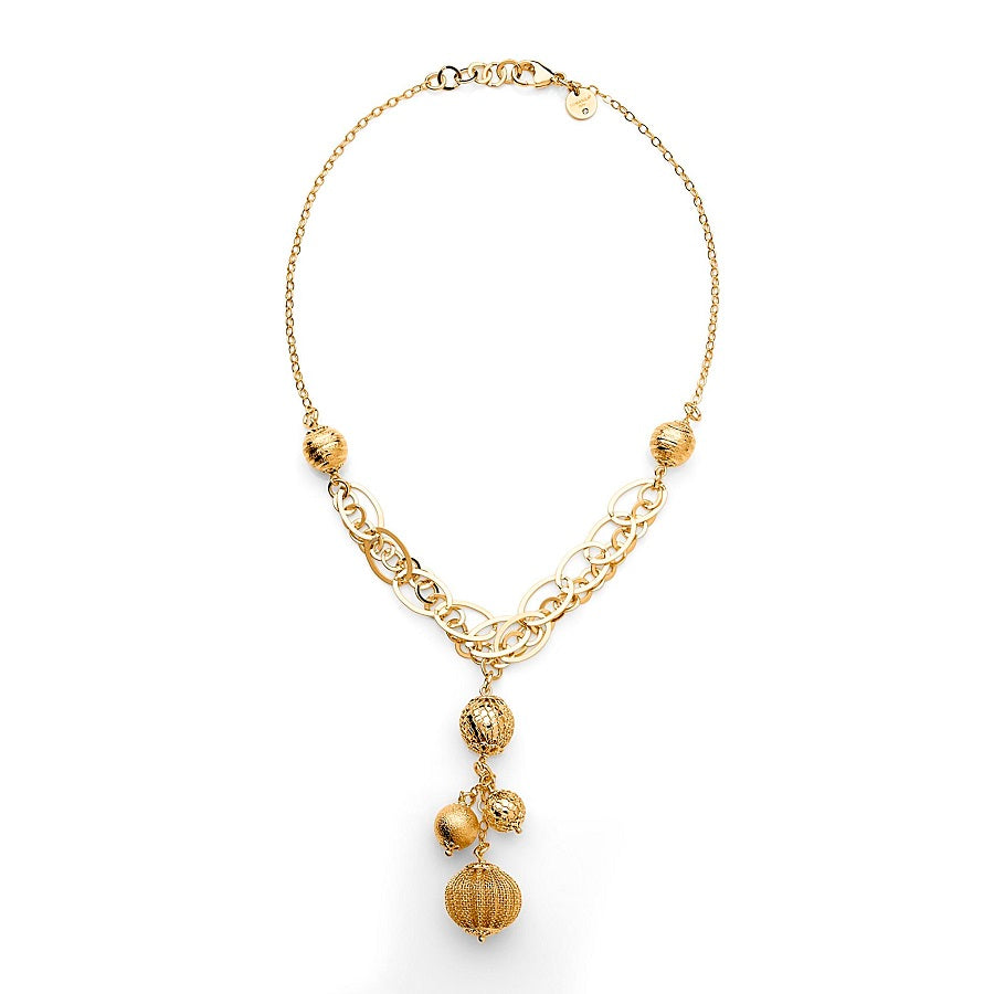 Dangling beads 14K Gold over Bronze Necklace