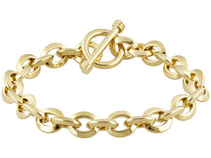 Oval Link Yellow Gold Over Bronze Toggle Bracelet