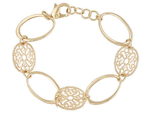 Polished & Textured Fancy Oval Link 18k Yg Over Bronze Adjustable Bracelet