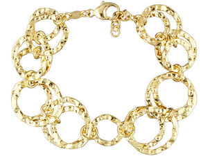 Polished & Hammered Circle Link 18k Yg Over Bronze Bracelet - 7""