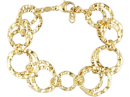 Polished & Hammered Circle Link 18k Yg Over Bronze Bracelet - 7