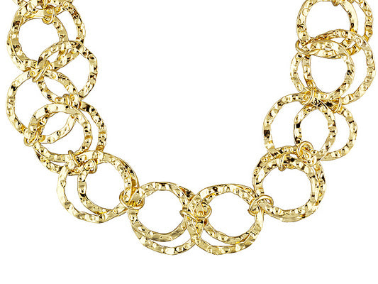 Polished And Hammered Multi-circle 18k Yellow Gold Over Bronze Adjustable Necklace.