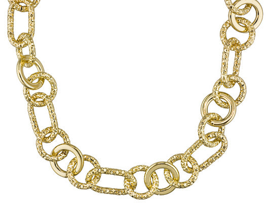 Polished Disk And Diamond Cut Oval And Circle Link 18k Yellow Gold Over Bronze Necklace.