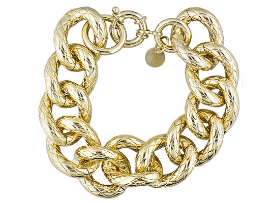 Oval Link 18k Yellow Gold Over Bronze Quilted Bracelet