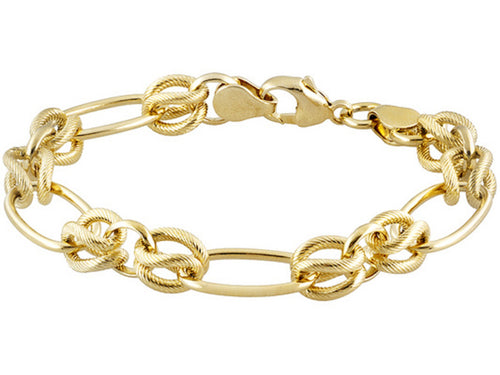 Oval and Twisted link Gold over Bronze Bracelet