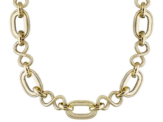 Oval and Twisted link Gold over Bronze Necklace