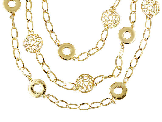 Circle And Oval Link Fancy Design 18k Yellow Gold Over Bronze 3-strand Necklace.