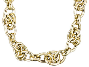 Double Oval Link 18k Yellow Gold Over Bronze Necklace.