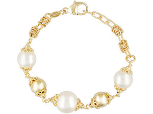 Polished & Textured 18k Yg Over Bronze With Shell Pearl Bracelet - 8""