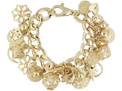 Charms gold over bronze bracelet.