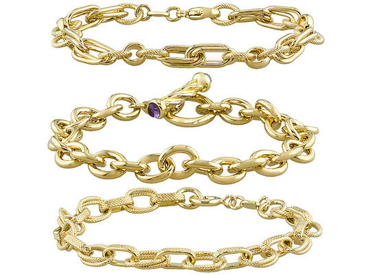 Set of 3 Bracelets with Amethyst, Double Oval & Overlap in Gold over Bronze