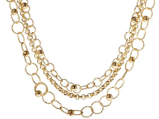 18k Yellow Gold Over Bronze Strand Necklace