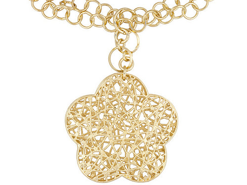 Oval Multi-strand 18k Yellow Gold Over Bronze Necklace With Flower Medallion.