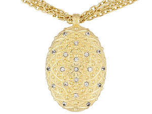 White Topaz 18k Yellow Gold Over Bronze Multi-strand Adjustable Necklace.