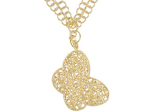 Multi Circle Link 18k Yellow Gold Over Bronze Fancy Design Butterfly Necklace.